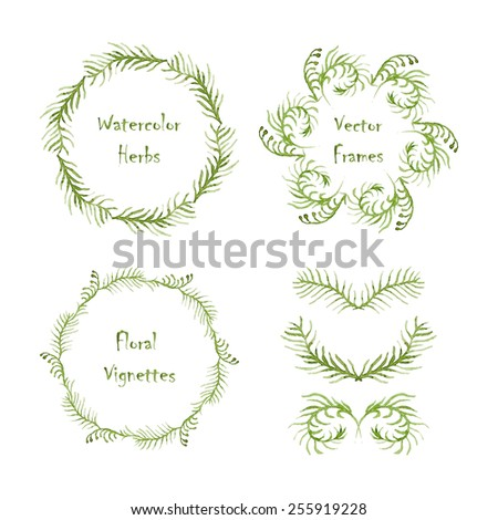 Set of round frames and vignettes made of watercolor ferns. Hand-painted watercolor design elements isolated on white. Perfect for greetings, invitations, web design. - stock vector