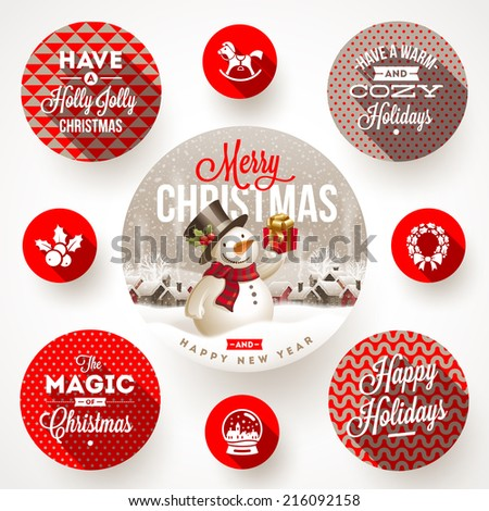 Set of round frames with Christmas greetings and flat icons with long shadows - vector illustration - stock vector