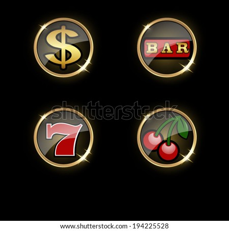 Set of round gambling icons with slot machine design elements. - stock vector