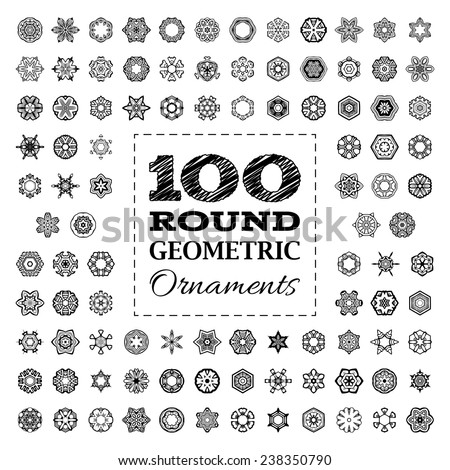 Set of 100 round geometric ornaments. Vector design elements isolated on white background. Black and white illustration. - stock vector