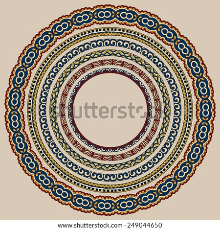 set of round geometrical frames, circle border ornament, vector illustration in beige colour - stock vector