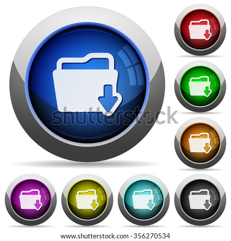 Set of round glossy Download folder buttons. Arranged layer structure. - stock vector