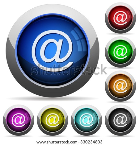 Set of round glossy email buttons. Arranged layer structure.