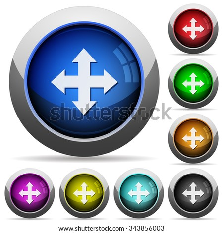 Set of round glossy move buttons. Arranged layer structure.