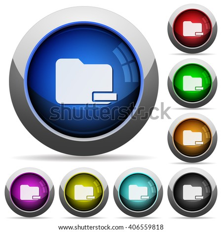 Set of round glossy remove folder buttons. Arranged layer structure. - stock vector