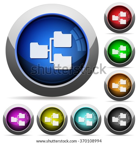 Set of round glossy Shared folder buttons. Arranged layer structure. - stock vector