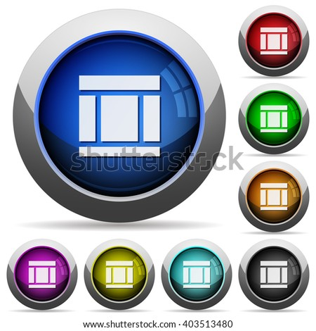 Set of round glossy three columns web layout buttons. Arranged layer structure. - stock vector