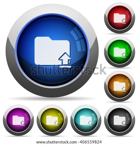 Set of round glossy upload folder buttons. Arranged layer structure. - stock vector
