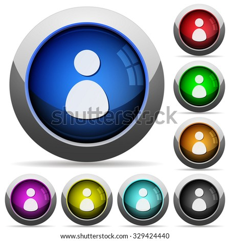 Set of round glossy user profile buttons. Arranged layer structure. - stock vector