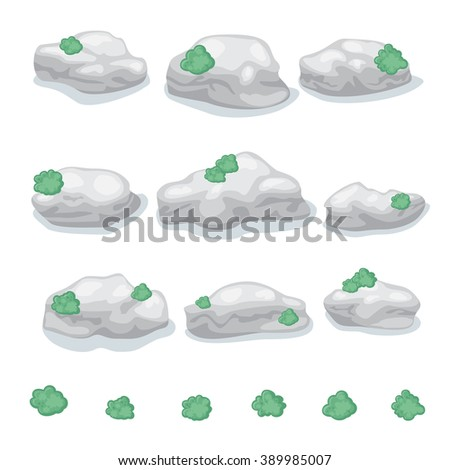 Set of round gray stones with moss isolated with shadow for video game