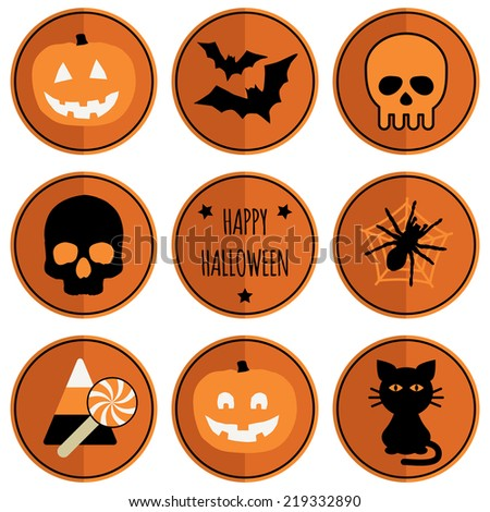 set of round halloween badges, isolated on white with transparencies