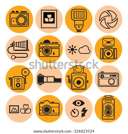 Set of 16 round icon with photography symbols and signs.