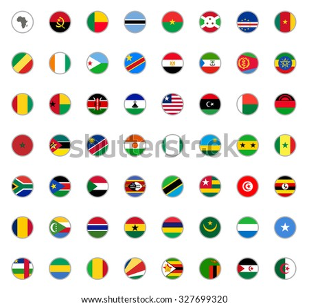set of round icons African flags on white background - stock vector