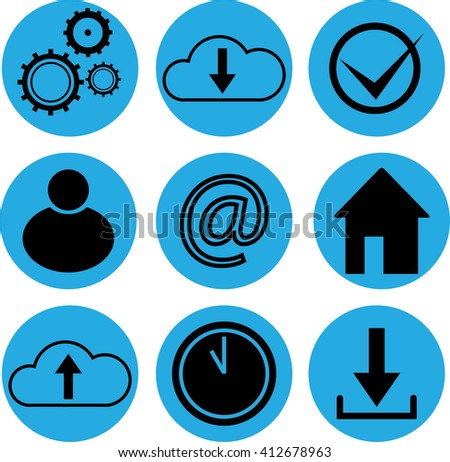 set of round icons business theme