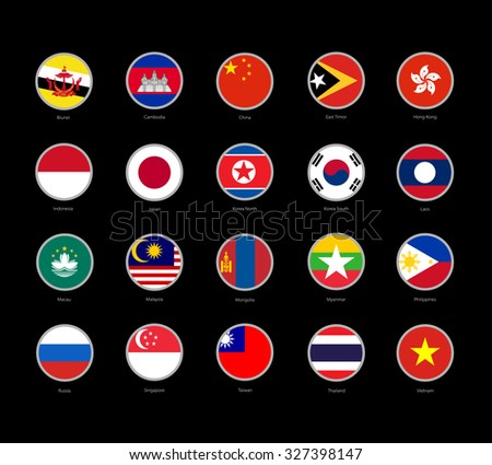 set of round icons Far East flags on black background