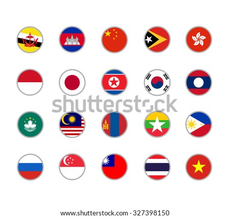 set of round icons Far East flags on white background