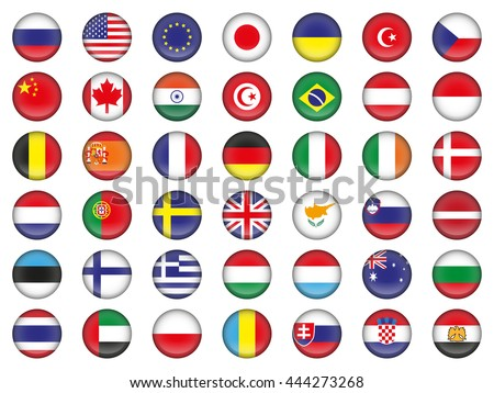 set of round icons flags of different countries - stock vector