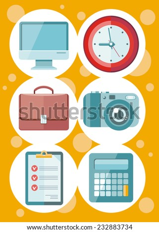 Set of 6 round icons for office and time management with digital devices and office objects on yellow dotted background