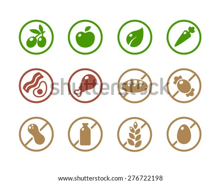 Set of round icons of various diets and ingredient labels. Symbolizing ketogenic, paleolitic, vegetarian, vegan diets; and absence of common food allergens like dairy, wheat, nuts and more. - stock vector