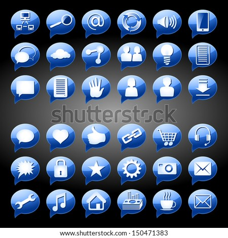 "Set of round icons, signs and buttons on a subject ""Social Media""; Blue version; EPS8"