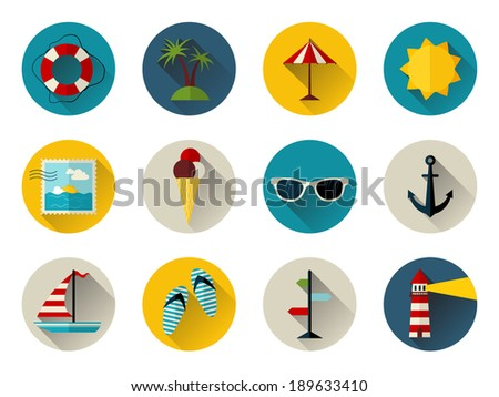 Set of 12 round icons with long flat shadow. Sea summer icons for your design isolated on white background.