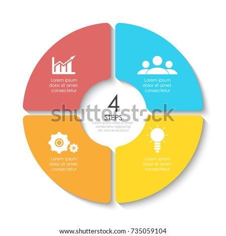 Infographics circle diagram bright colors stock vector 553678375 set of round infographic diagram circles of 4 elements or steps vector eps10 ccuart Images