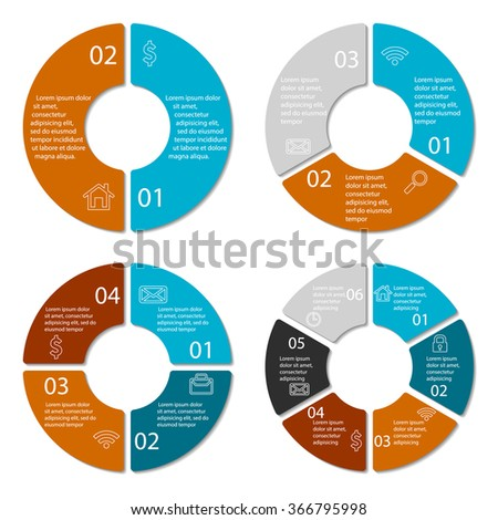 Set Vector Connected Round Infographic Diagrams Stock Vector ...