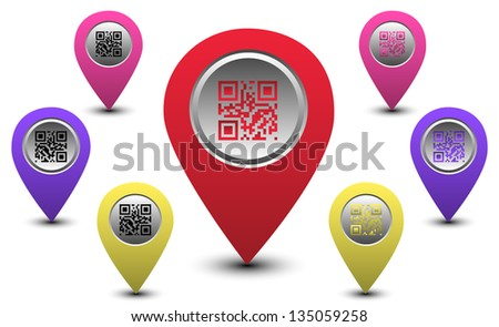 Set of Round Map Pointers with QR Code over White Background - stock vector