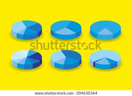 Set of round pie graphs, illustration - stock vector