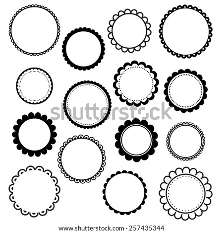 Set of round scalloped frames - stock vector
