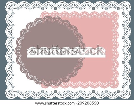 set of round, square lace frames - stock vector