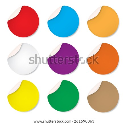 Set of Round stickers. Circle labels with shadows, Vector