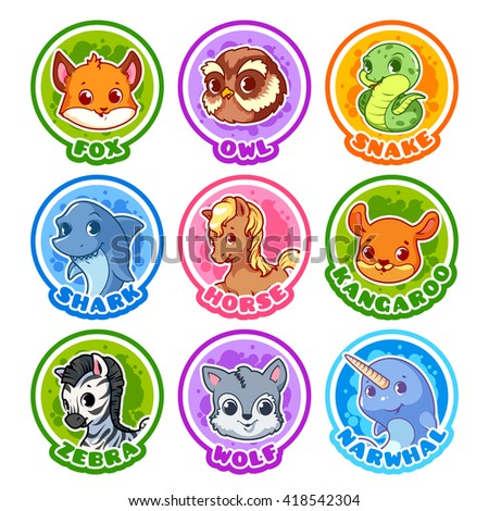 Set of round stickers with cute animals. Vector cartoon illustration isolated on a white background. - stock vector