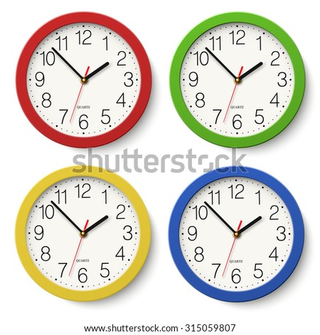 set of round wall clock with red green blue yellow color bodies isolated