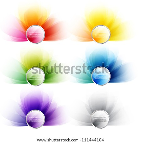 Set of round web glossy colorful vector badges with smooth backgrounds - stock vector