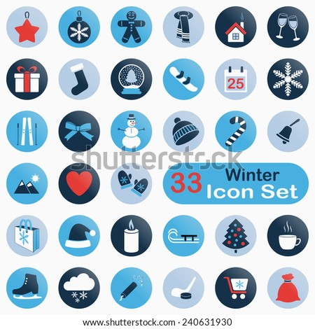 Set of round winter icons for web and app design