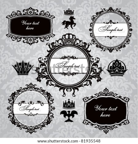 set of royal  frame and vintage design elements - stock vector