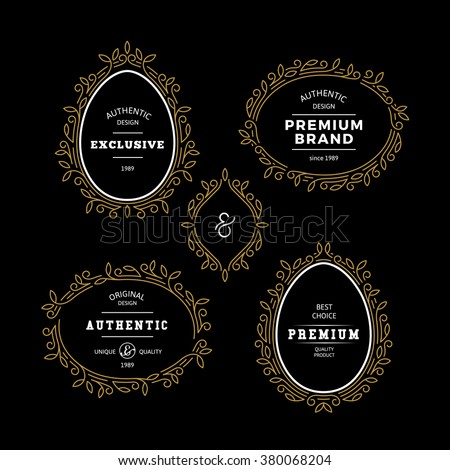 Set of Royal Golden Labels with Decorative Frames. Gold Floral Borders on Classic Badges. - stock vector