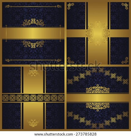 Set of royal invitation cards. All cards have seamless floral background. Modern invitations with vintage luxury decoration. Original design                           - stock vector