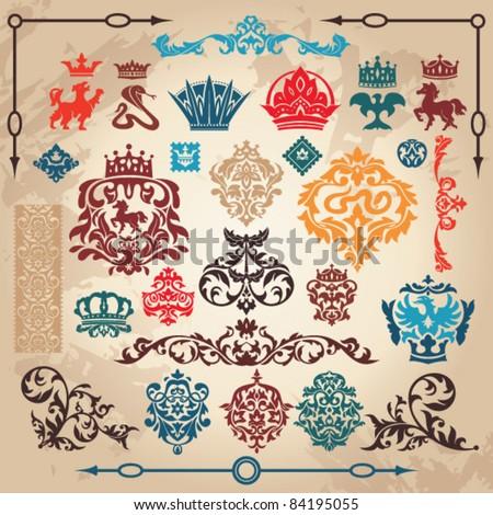 set of royal vintage design elements - stock vector