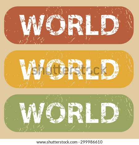 Set of rubber stamps with word WORLD on colored background