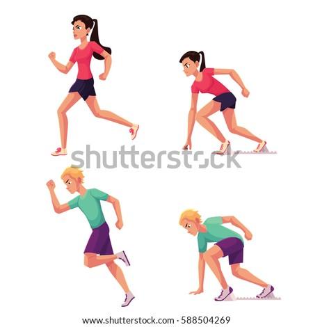 Set Runners Male Female Running Standing Stock Vector