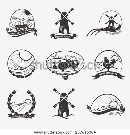 Set of rural landscape, farming, organic food and bread logos, emblem, labels - stock vector
