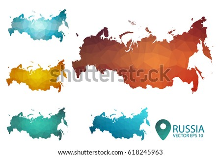 Set Russia Maps Bright Gradient Map Stock Vector 618245963