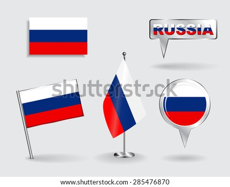 Set of Russian pin, icon and map pointer flags. Vector illustration. - stock vector
