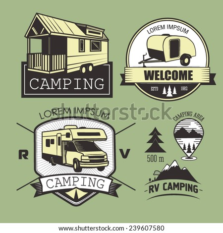 Set of RV camping logotypes, labels, badges and design elements  - stock vector