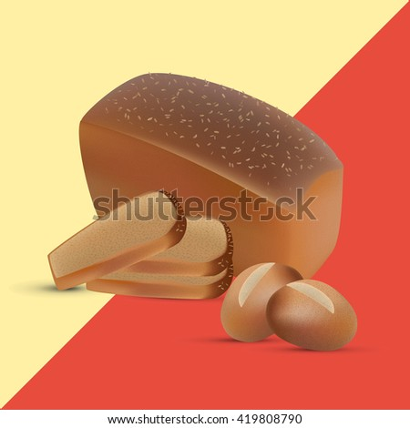 Set of rye and wheat sliced bread and crusty buns. Vector brown loaf design - stock vector