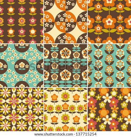 Set of 1970s Seamless Patterns Design Wallpaper - stock vector