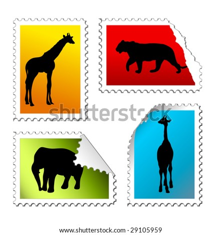 set of safari post stamps on a white background - stock vector
