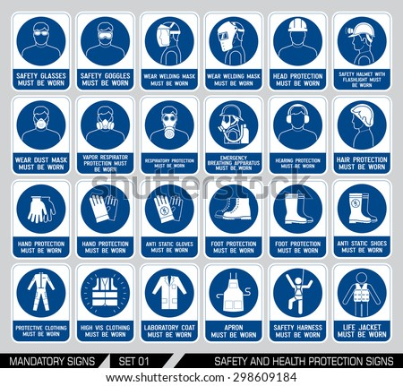Set of safety and health protection signs. Mandatory construction and industry signs. Collection of safety equipment. Protection on work. Vector illustration. - stock vector